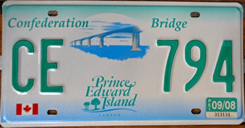 Canada License Plate Confederation Bridge Prince Edwards Island with Green Letters on White and Green Blue Backround