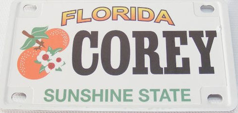 Corey Bicycle License Plate with Black Letters