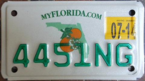 Florida State motorcycle license plate green letters on map backround