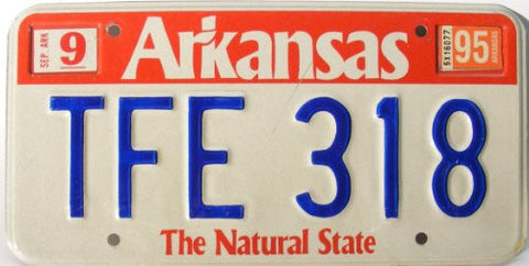 Arkansas The Natural State License Plate blue numbers on white with red band on top