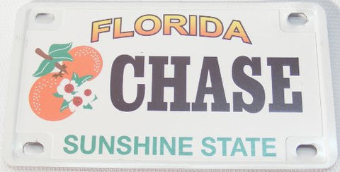 Chase Bicycle License Plate with Black Letters