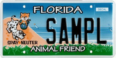"Florida State License Plate ""Animal Friend"" with Black Letters on Beach Backround with Cat and Dog"