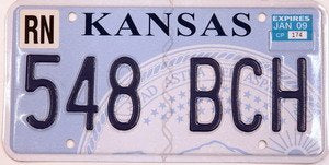 Kansas Medallion blue numbers on light blue