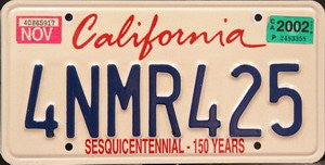 California Sesquicentennial - 150 Years License Plate blue numbers on white