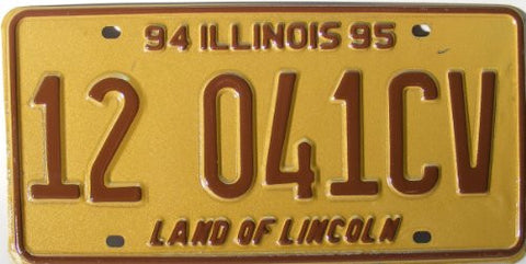 Illinois Land of Lincoln License Plate brown numbers on yellow