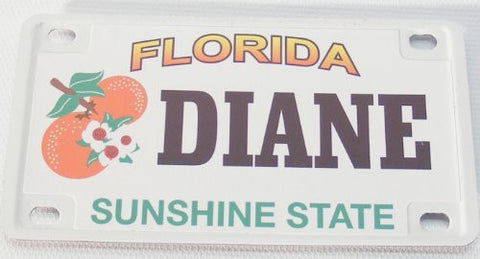 Diane Bicycle License Plate with Black Letters