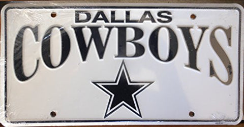 Dallas Cowboys License Plate Black Letters on White Backround