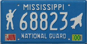 Mississippi National Guard License Plate white numbers on light blue with white Guard and Jet