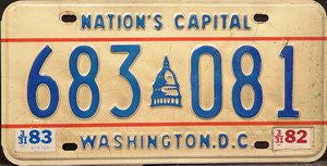 Washington DC Nations Capitol License Plate blue numbers on white with blue capitol building