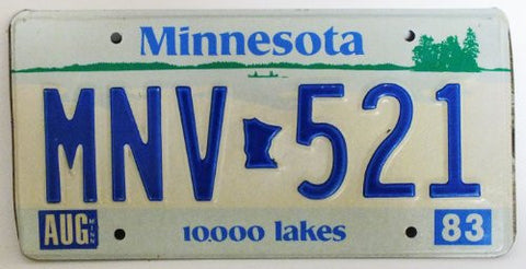 Minnesota 10,000 Lakes License Plate blue numbers on cream - steel