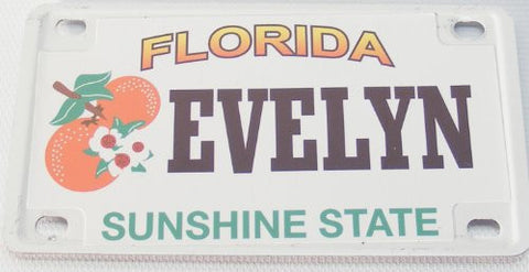 Evelyn Bicycle License Plate with Black Letters