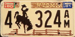 Wyoming Bucking Bronco License Plate brown numbers on white with stockade fence