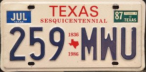 Texas Sesquicentennial license plate 1836-1986 blue numbers on white