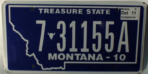 Montana Flat Non-Embossed License Plate with Blue Background