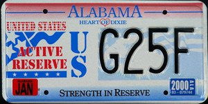 Alabama Active Reserve License Plate black numbers on red white blue with Active Reserve emblem