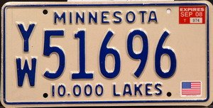 Minnesota 10000 Lakes license plate blue numbers on cream