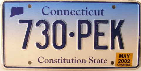 Connecticut Constitution State License Plate with Dark Blue Letters