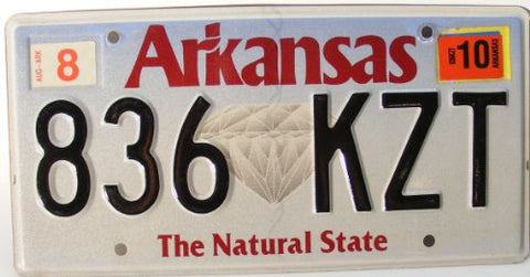 Arkansas The Natural State License Plate black numbers on white with Diamond