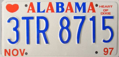 Alabama Heart of Dixie License Plate Red and Blue numbers on white