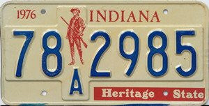 Indiana Heritage State License Plate blue numbers on white with red Minuteman