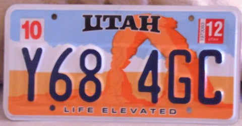 Utah License Plate Orange with White and Blue Background and Blue Numbers