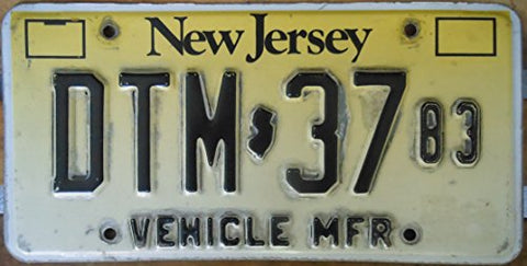 New Jersey State License Plate Steel Vehicle Manufacturer With Slight Scotch Burn Around Letters
