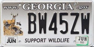 Georgia Support Wildlife License Plate black numbers on gray to white with Deer and Birds