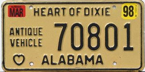 Alabama Antique Vehicle License Plate black numbers on tan with embossed Black Heart of Dixie outline
