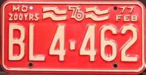 Missouri 76 200 Years License Plate white numbers on red