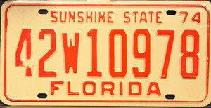 Florida Sunshine State 1974 License Plate orange numbers on cream