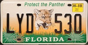 Florida Protect the Panther License Plate black numbers on grass and sunset with Panther emblem