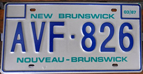 Canada License Plate New Brunswick Blue Letters on Creme Backround