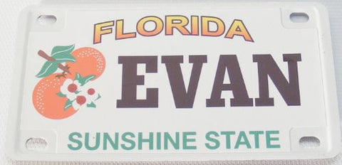 Evan Bicycle License Plate with Black Letters