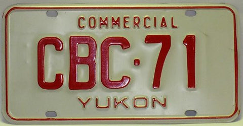 "Yukon Canada Commercial"" License Plate Red numbers on White"""