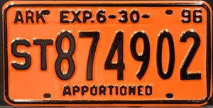 Arkansas Apportioned License Plate black numbers on orange