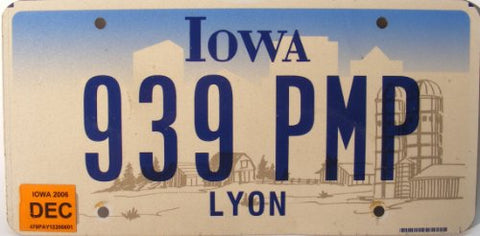 Iowa, Non Embossed Flat License Plate with blue numbers with Farm Graphic