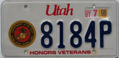 Utah Honors Veterans license plate blue numbers on white with navy and Marine Corps Insignia