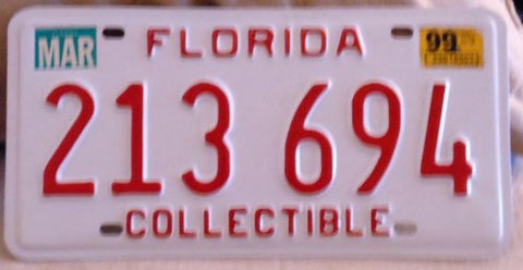 Florida Collectible license plate white with red numbers