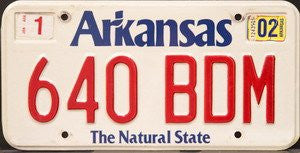 Arkansas The Natural State License Plate red numbers on white