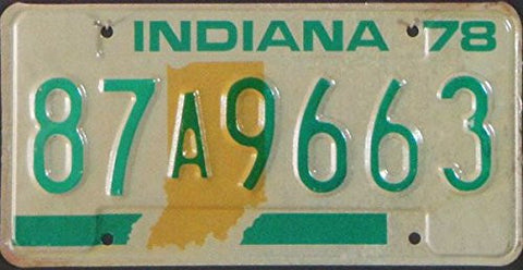 Indiana State License Plate Green Letters on Cream Backround with Yellow.