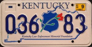 Kentucky Law Enforcement Memorial Foundation license plate blue numbers on white with Police badge and red rose emblem