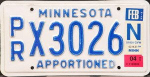 Minnesota Apportioned license plate blue numbers on white