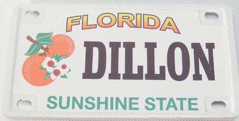 Dillon Bicycle License Plate with Black Letters