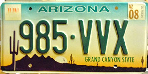 Arizona Grand Canyon State License Plate Green Numbers on Green White Yellow with Purple Desert Embossed Plate