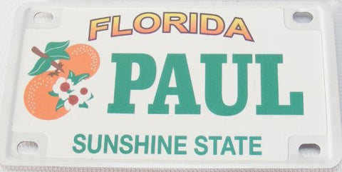 Paul Bicycle License Plate with Green Letters