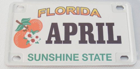 April Bicycle License Plate with Black Letters