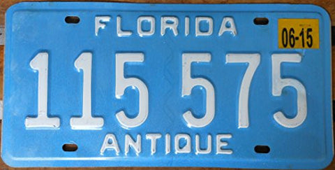 "Florida State License Plate "" Antique"" with White Letters on Blue Backround"