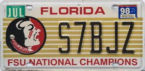Florida FSU National Champions License Plate black numbers on gold with Indian emblem