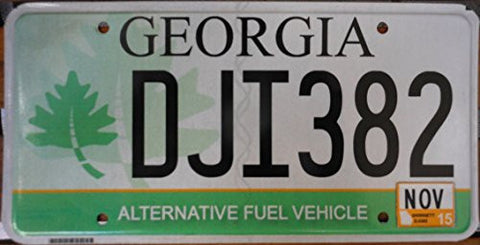 georgia state license plate alternative fuel vehicle black letters over green white backround