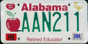 Alabama Educator License Plate green numbers on white with apple - steel